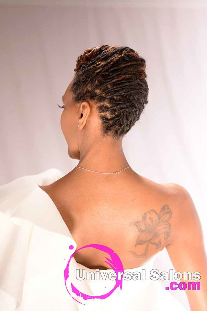 Back View: Niva Grimball Created One of Charleston, SC's Top Loc Updo Hairstyles