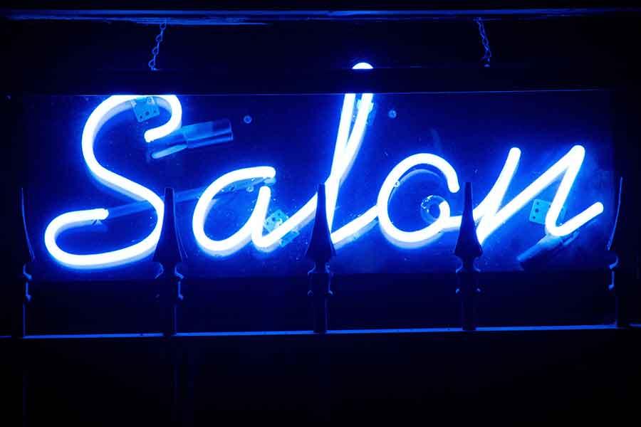 Neon Blue Hair Salon Sign
