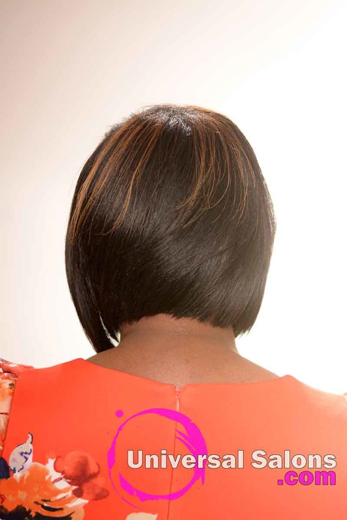 The Back View of a Bob Haircut with Graduated Layers and Hair Color