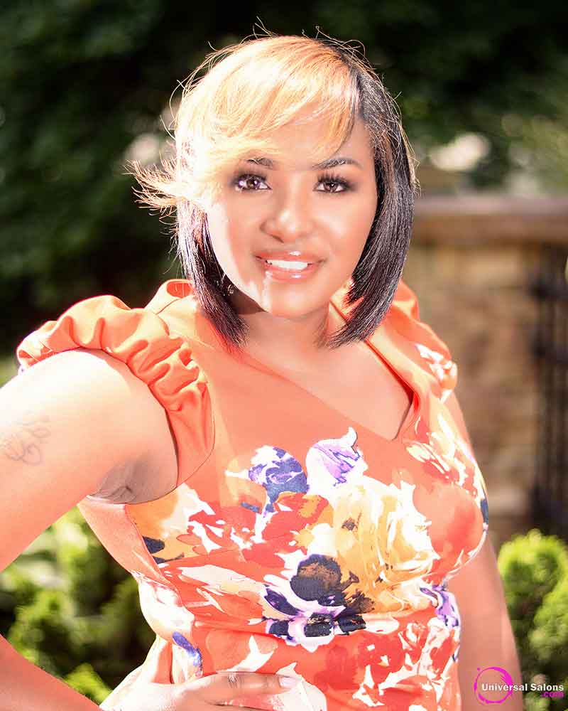 Location Image of a Model with a Bob Haircut with Graduated Layers