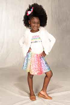 Full Body Image: Classic Afro With a Braid in Front Black Hairstyles for Little Girls
