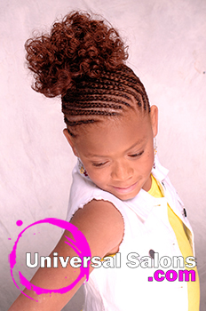Little Girl Model Looking Down Back View: Cornrows With a Curled Bun