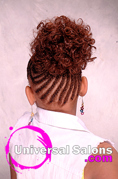 Back View: Cornrows With a Curled Bun
