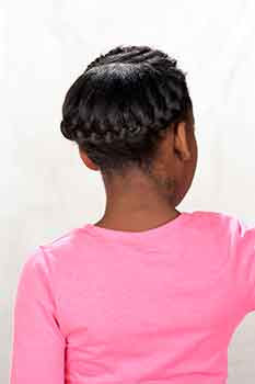 Back View: French Braids Black Hairstyle for Little Girls
