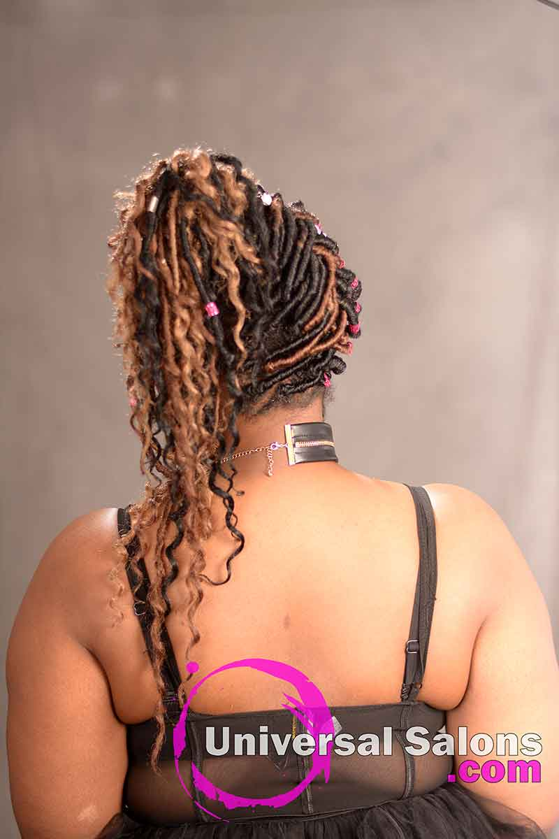 The Back View of a Goddess Locks Updo Hairstyle