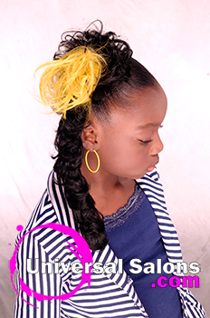 Left Side View of Pigtail Twists With Flared Out Pom Poms