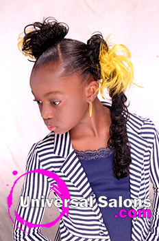 Right Side Viewof Pigtail Twists With Flared Out Pom Poms