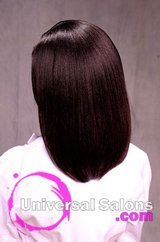 Back View: Silk Press Hairstyle with Red Highlights