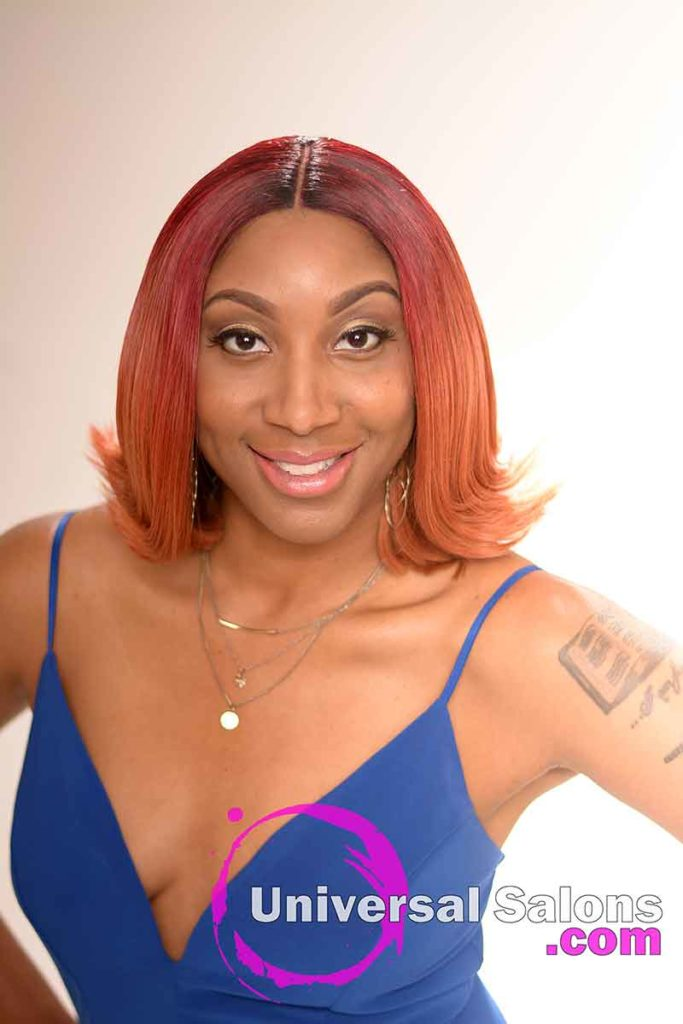 The Front View of a Red Sew In Bob Hairstyle