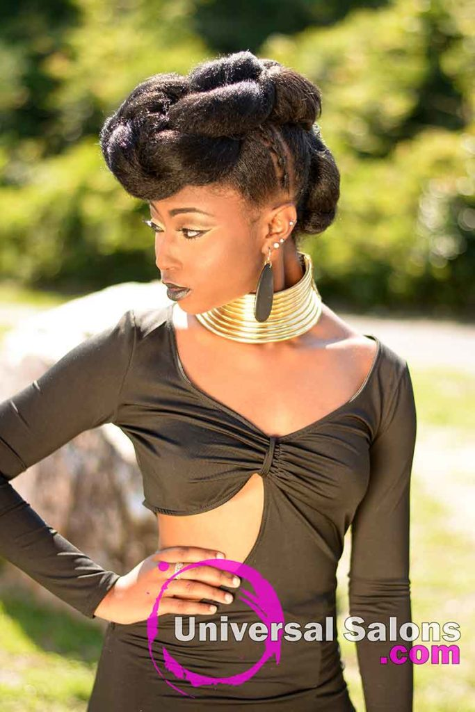 Model Outside Looking Down With a Tripple Ponytail Updo Hairstyle