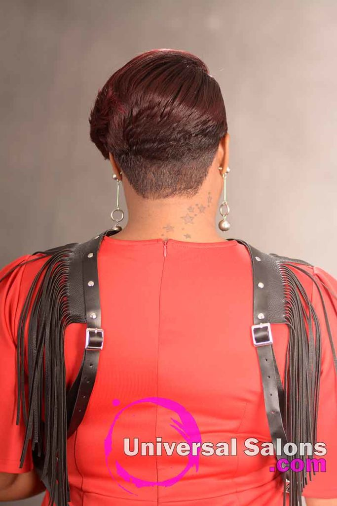 Back View of a Asymetrical Bob Hairstyle