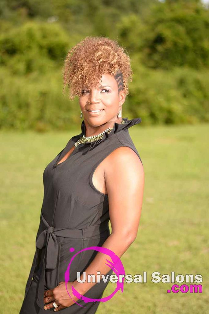 Outside Front View of a Curly Mohawk Hairstyle for Black Women