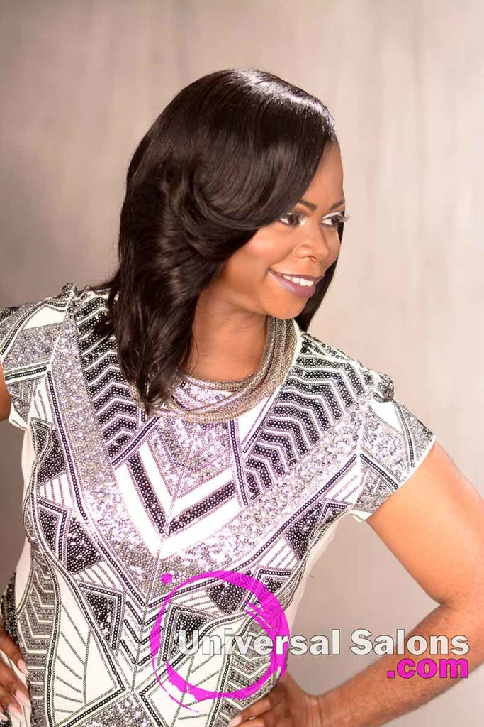 Right View of a Sew-In Bob Hairstyle