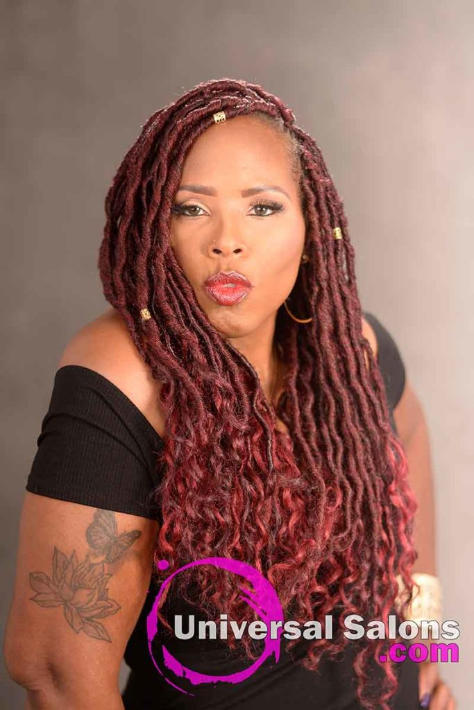 Burgandy Goddess Locks Hairstyle With Accents