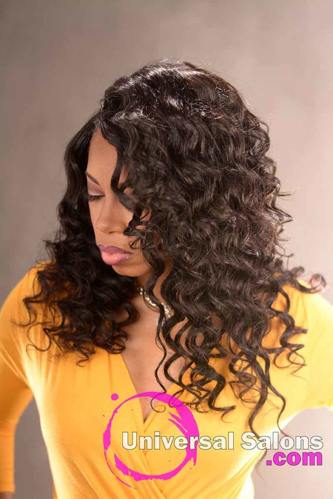 Right View Sew-In Curly Hairstyle