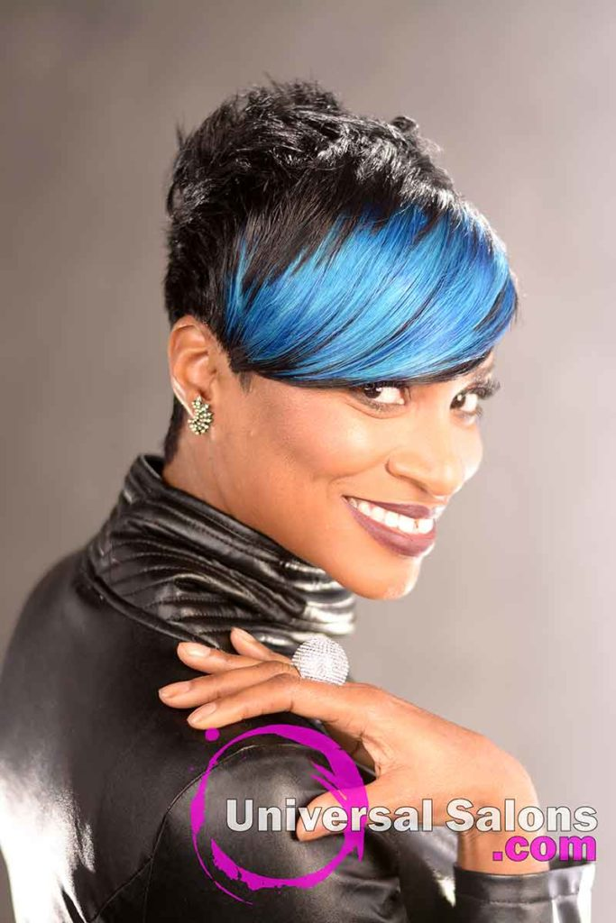 Indigo Blue Short Hairstyle With a Heave Bang
