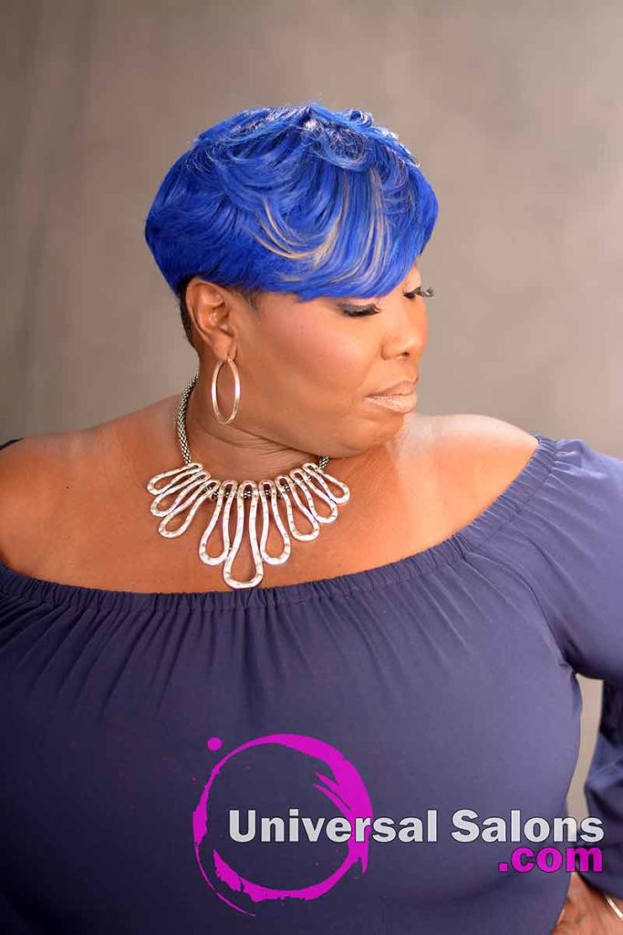 Left View of a Blue Side Bob Hairstyle for Black Women
