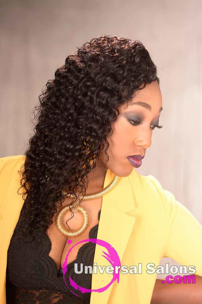 Right View of a Long Curly Sew-In Hairstyle