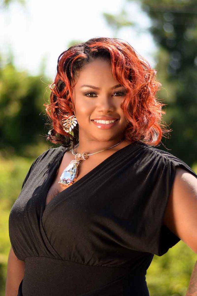 Curly Red Ombre Hairstyle for Black Women Pinterest