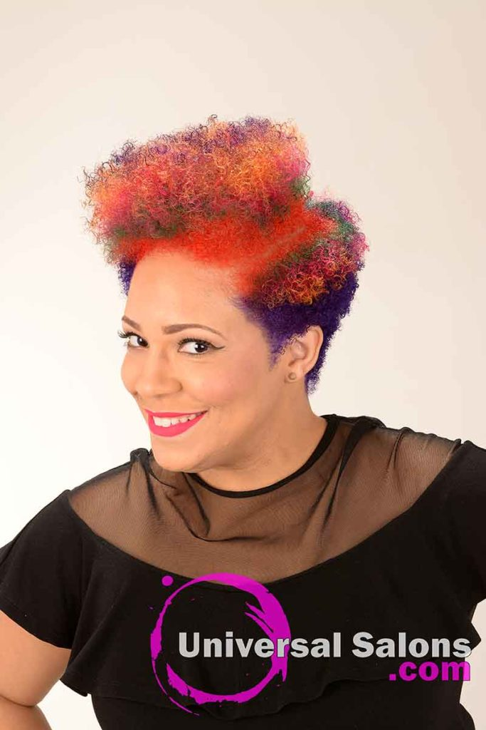 Left View of a Rainbow Hair Color on Natural Hair