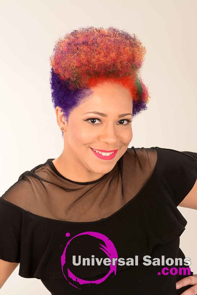 Short Rainbow Hair color on Top of Natural Hair
