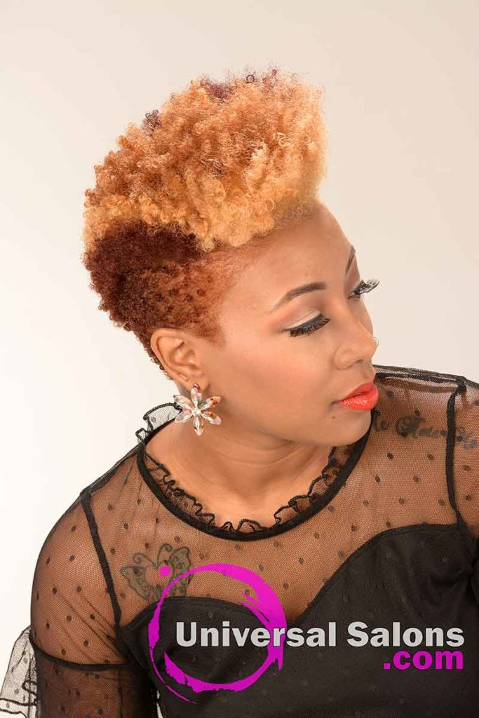 Right View Bold short Natural Hair With Color