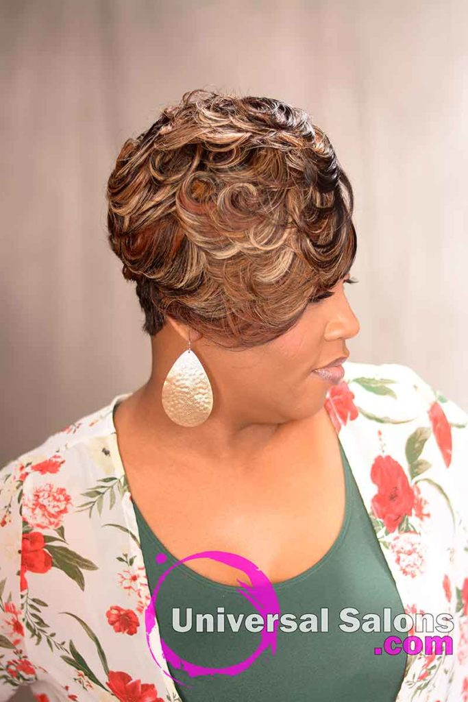 Short Curly Quick Weave Hairstyle With Color