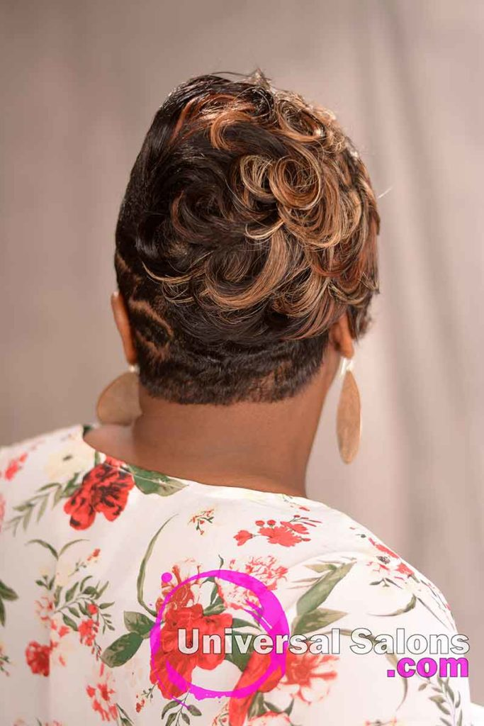 Curlly Tapered Quick Weave Hairstyle With Color