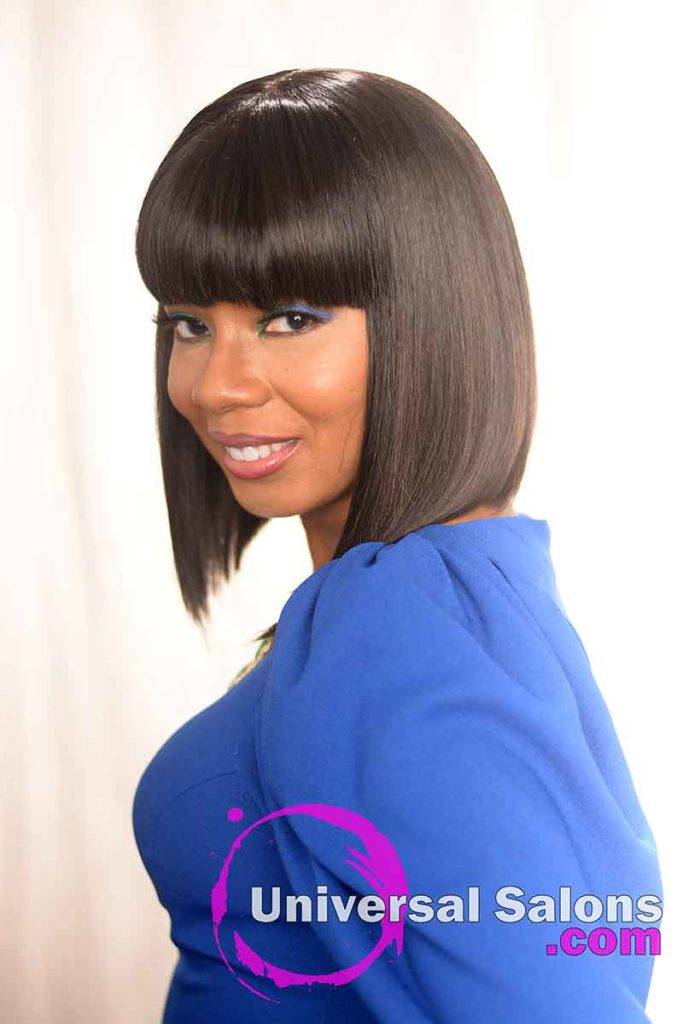 Left View of an Asymmetrical Bob Hairstyle for Black Women