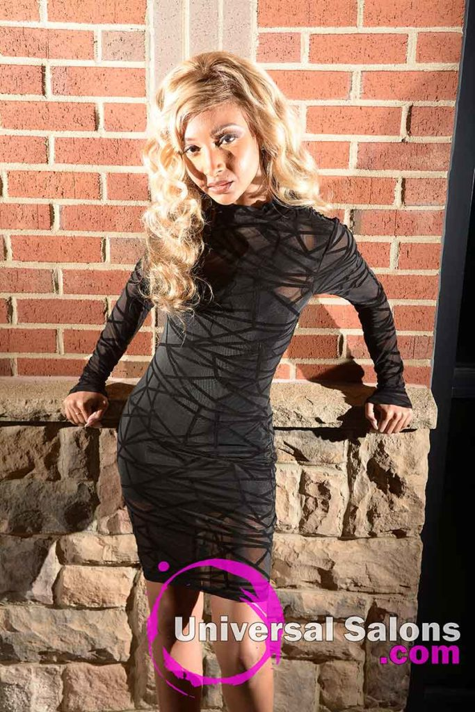 Model With Long Blonde Lace Front Wig Hairstyle