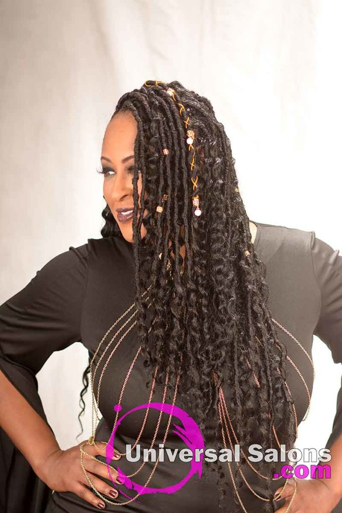 Model Looking Away With Long Goddess Locs