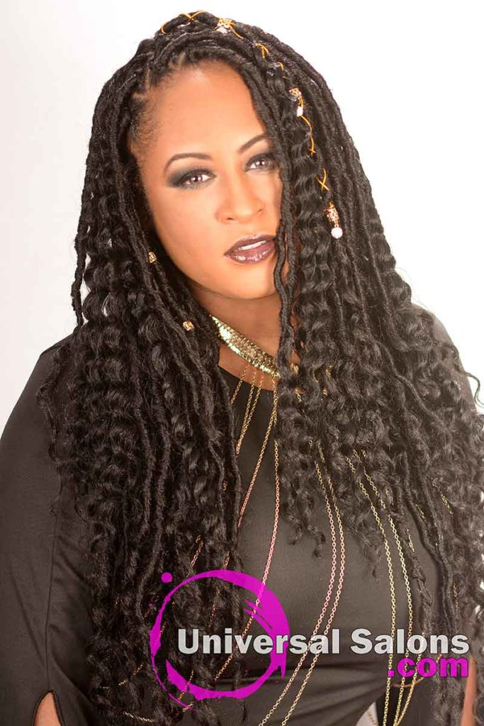 Long Goddess Locs Hairstyle With Accents in Fayetteville, NC