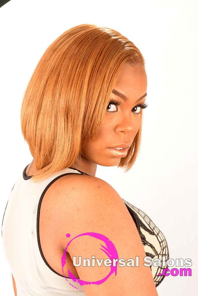 Right View of a Golden Blonde Sew-In Bob Hairstyle