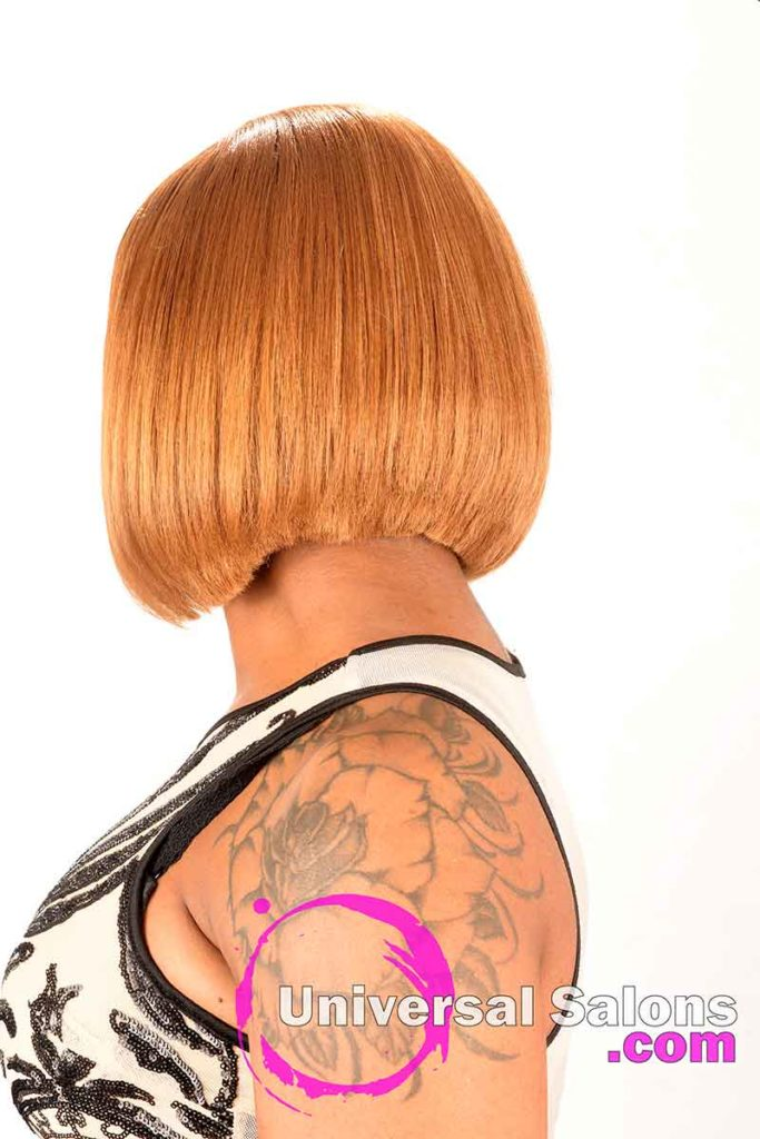 Back View of a Sew-In Bob Hairstyle With Golden Blonde Hair Color