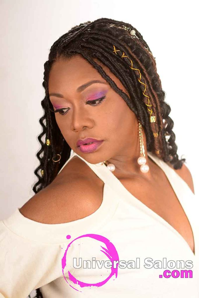 Model Looking Down With Ombre Goddess Locs