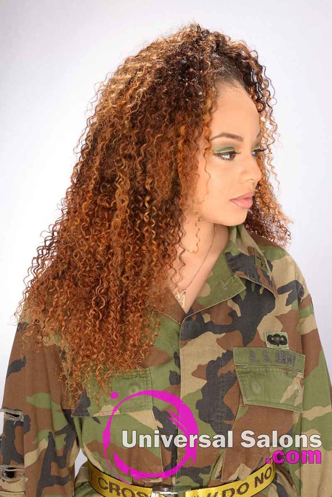Left View of a Long Curly Hairstyle and Color
