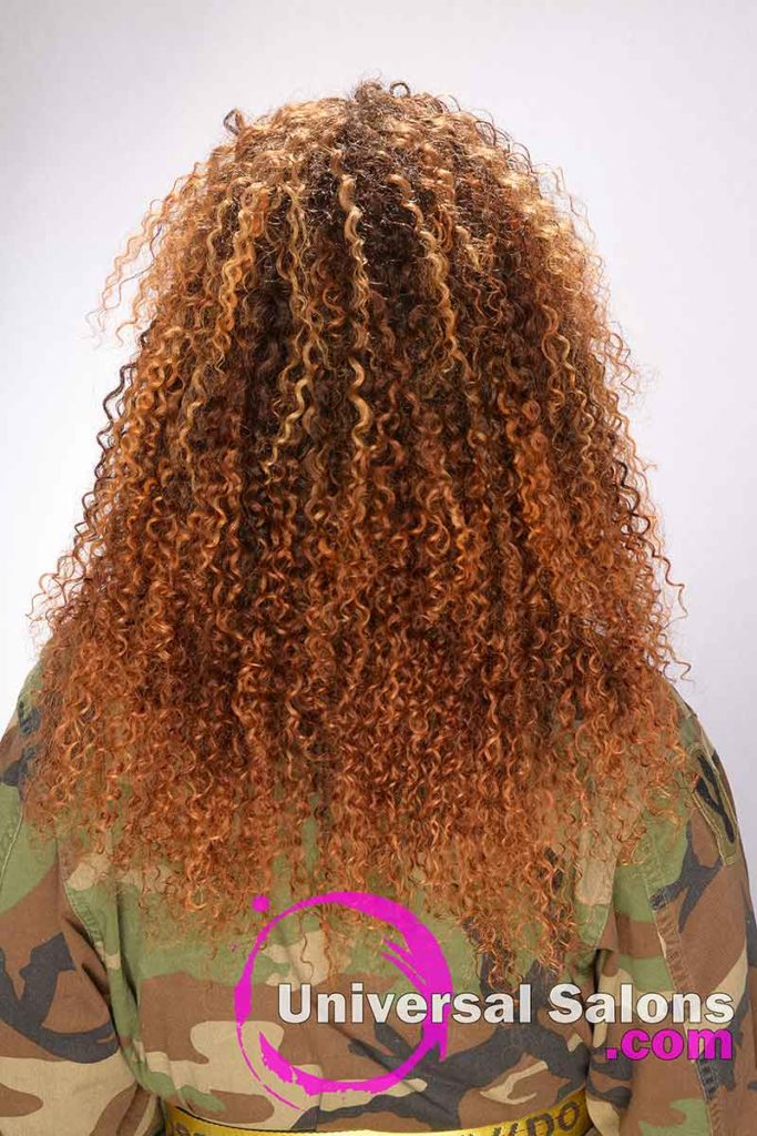 Back View of a Long Bohemian Curls Sew-In Hairstyle