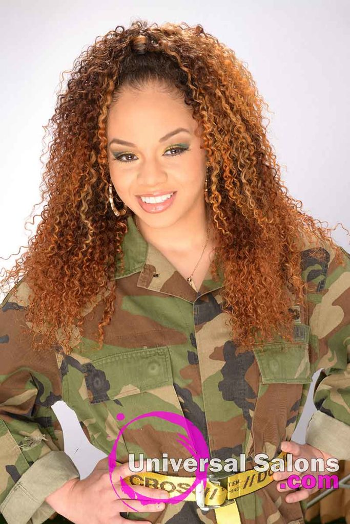 Bohemian Curls Sew-In Hairstyle With Color