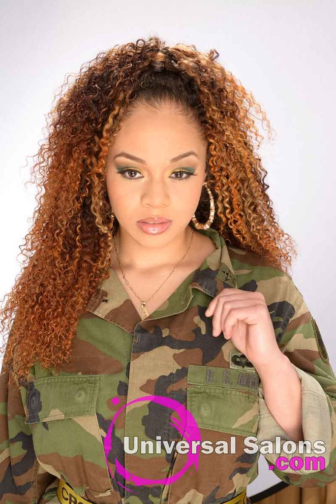 Long Bohemian Curls Sew-In Hairstyle With Colors