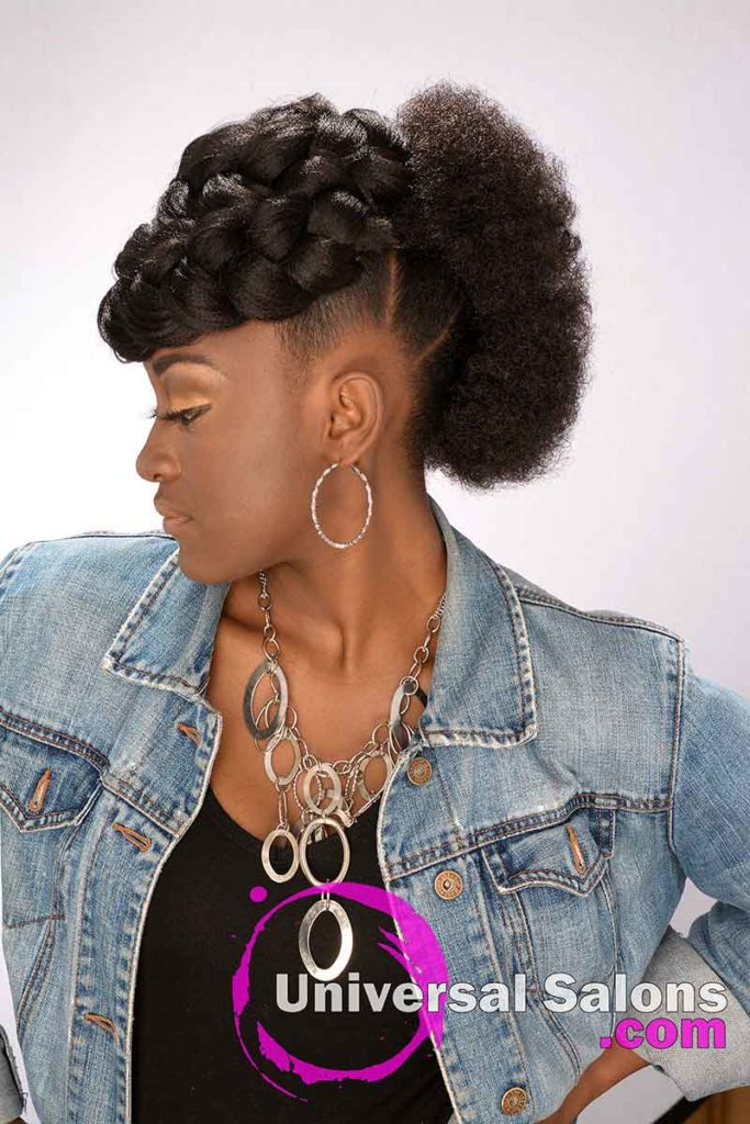 Left View of a Model Wearing Goddess Braid & Afro Mohawk