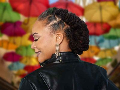 Barrel Twist Loc Updo Hairstyle