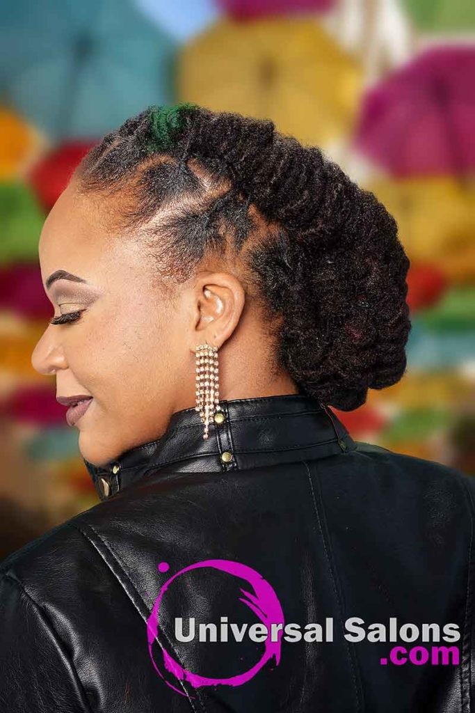 Left View Barrel Twist Loc Updo Hairstyle