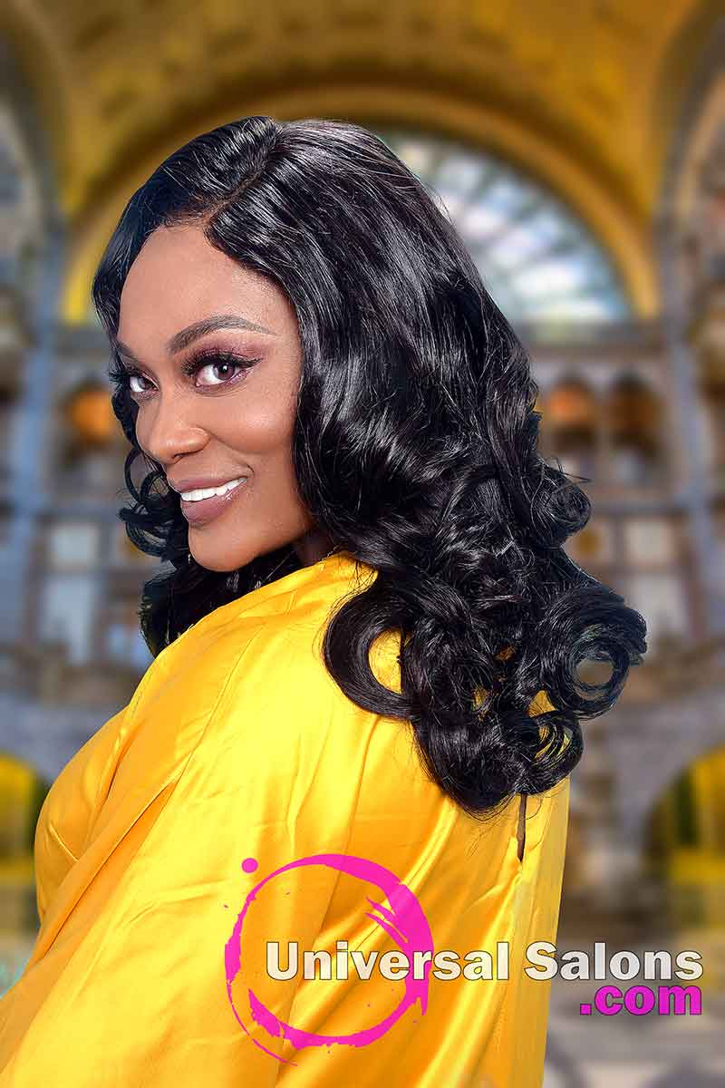 Left View of Long 4x4 Lace Closure Wig