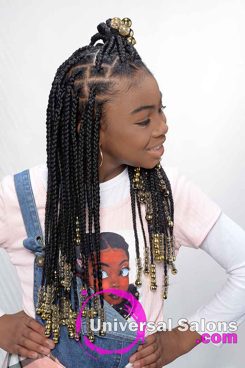 Kid's Knotless Box Braids With Beads Right View