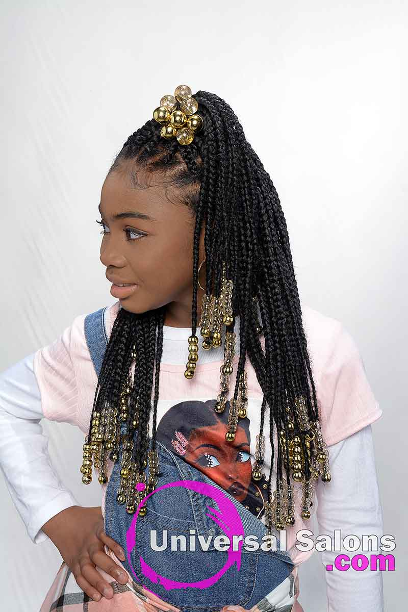 Kid's Knotless Box Braids With Beads Model's Head Turned