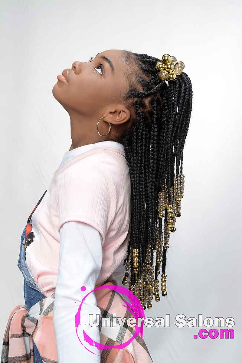 Kid's Knotless Box Braids With Beads- Model Looking Up