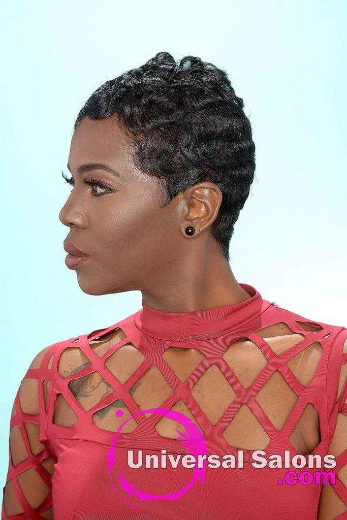 Soft Finger Waves on Short Pixie Cut for Black Women