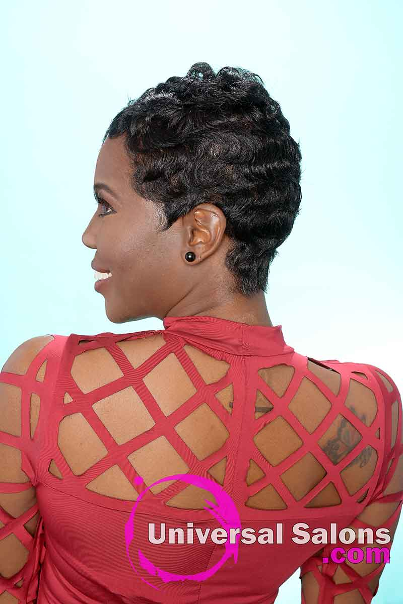 Short Pixie Cut for Black Women With Finger Waves