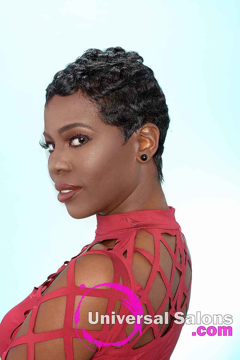 Short Pixie Cut for Black Women With Soft Finger Waves