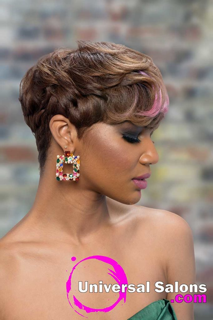 Right View Short Pixie Cut for Black Womn With Hair Color